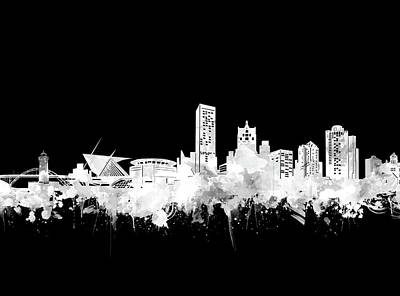 Abstract Skyline Royalty-Free and Rights-Managed Images - Milwaukee Skyline Black And White 2 by Bekim Art