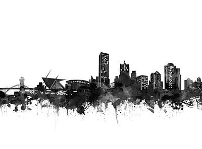 Digital Art - Milwaukee Skyline Black And White by Bekim Art