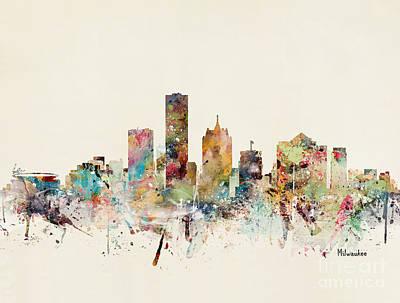 Painting - Milwaukee Skyline by Bleu Bri