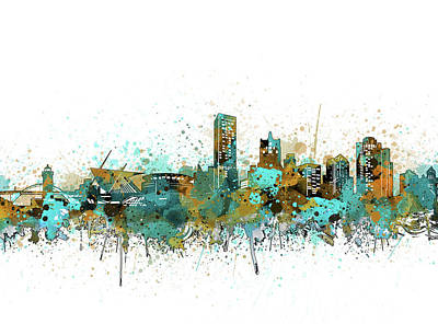 Abstract Skyline Royalty-Free and Rights-Managed Images - Milwaukee Skyline Color Splatter 2 by Bekim Art