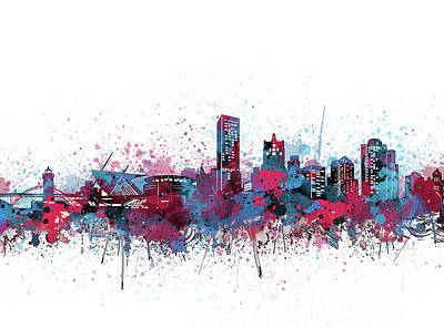Abstract Skyline Royalty-Free and Rights-Managed Images - Milwaukee Skyline Color Splatter by Bekim M