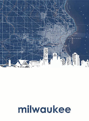 Digital Art - Milwaukee Skyline Map 4 by Bekim Art