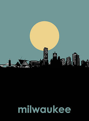 Abstract Skyline Royalty-Free and Rights-Managed Images - Milwaukee Skyline Minimalism 3 by Bekim Art
