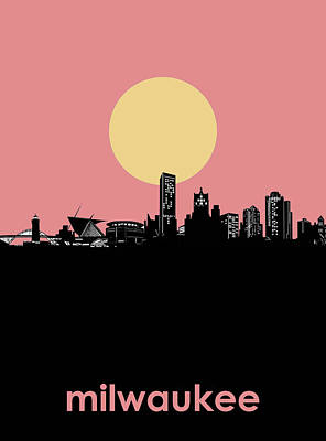 Abstract Skyline Royalty-Free and Rights-Managed Images - Milwaukee Skyline Minimalism 4 by Bekim Art