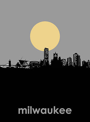 Abstract Skyline Royalty-Free and Rights-Managed Images - Milwaukee Skyline Minimalism 5 by Bekim M