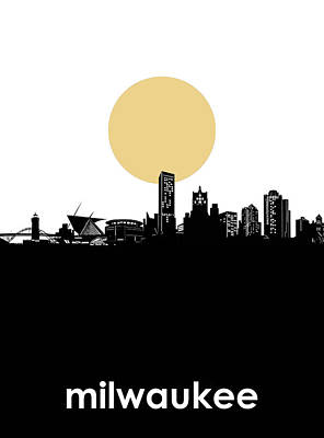 Abstract Skyline Royalty-Free and Rights-Managed Images - Milwaukee Skyline Minimalism by Bekim Art