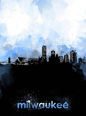 Abstract Skyline Royalty-Free and Rights-Managed Images - Milwaukee Skyline Minimalism Blue by Bekim Art
