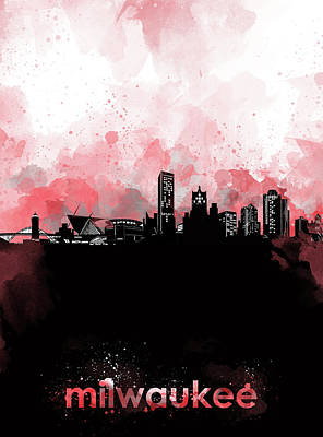 Abstract Skyline Royalty-Free and Rights-Managed Images - Milwaukee Skyline Minimalism Red by Bekim Art