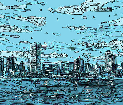 Digital Art - Milwaukee Skyline Panorama 2 by Bekim Art