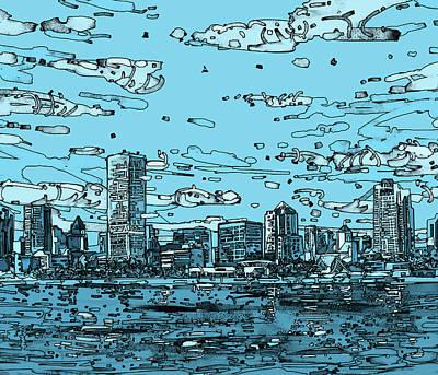 Comics Digital Art - Milwaukee Skyline Panorama 2 by Bekim M