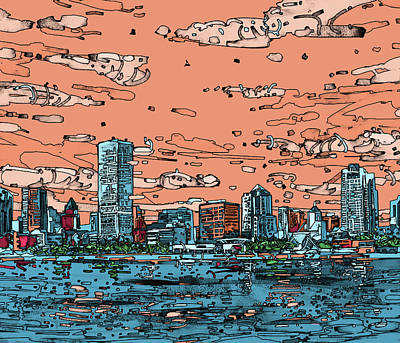 Painting - Milwaukee Skyline Panorama by Bekim Art