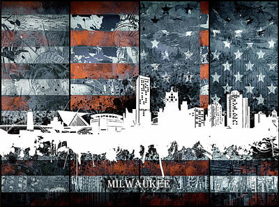 Abstract Skyline Royalty-Free and Rights-Managed Images - Milwaukee Skyline Usa Flag 2 by Bekim Art