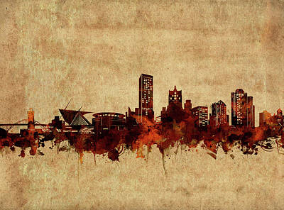 Abstract Skyline Royalty-Free and Rights-Managed Images - Milwaukee Skyline Vintage 2 by Bekim Art