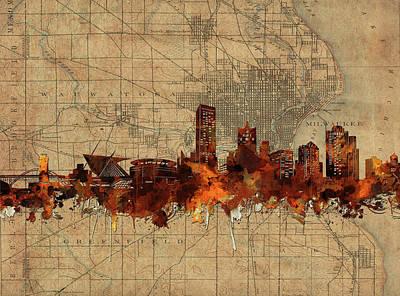 Digital Art - Milwaukee Skyline Vintage by Bekim Art