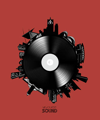 Digital Art - Milwaukee Skyline Vinyl 10 by Bekim Art