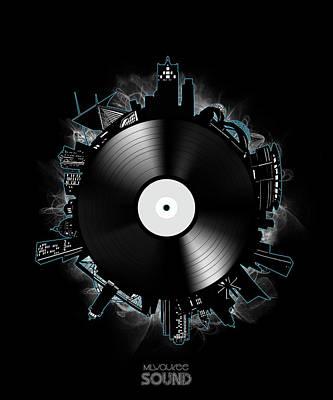 Gramophone Wall Art - Digital Art - Milwaukee Skyline Vinyl 11 by Bekim Art