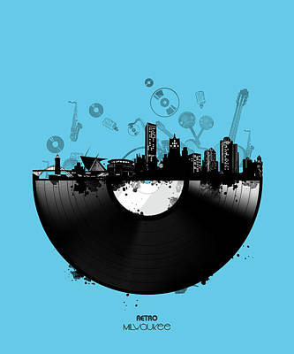 Digital Art - Milwaukee Skyline Vinyl 2 by Bekim Art