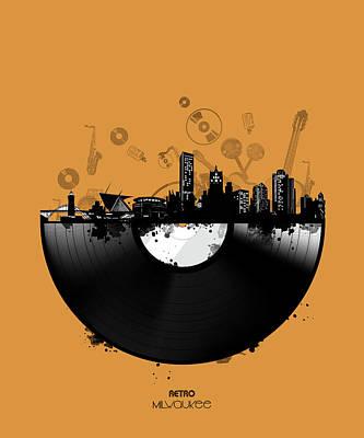Gramophone Wall Art - Digital Art - Milwaukee Skyline Vinyl 3 by Bekim Art