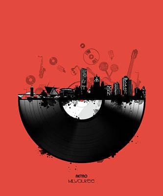 Digital Art - Milwaukee Skyline Vinyl 4 by Bekim Art