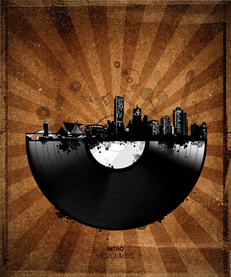 Digital Art - Milwaukee Skyline Vinyl 5 by Bekim Art