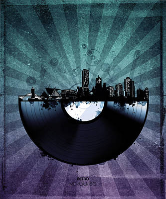 Abstract Skyline Royalty-Free and Rights-Managed Images - Milwaukee Skyline Vinyl 6 by Bekim Art