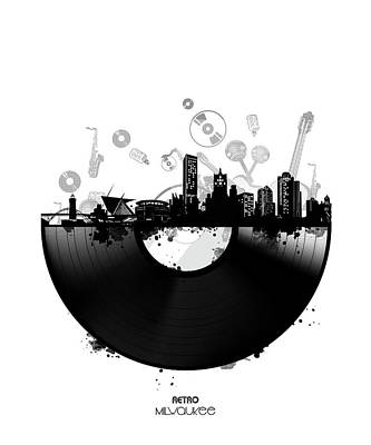 Digital Art - Milwaukee Skyline Vinyl by Bekim Art