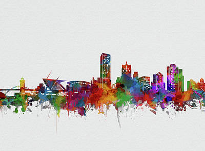 Abstract Skyline Royalty-Free and Rights-Managed Images - Milwaukee Skyline Watercolor 2 by Bekim Art