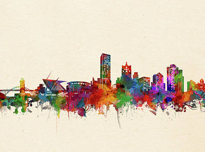 Abstract Skyline Royalty-Free and Rights-Managed Images - Milwaukee Skyline Watercolor 3 by Bekim Art