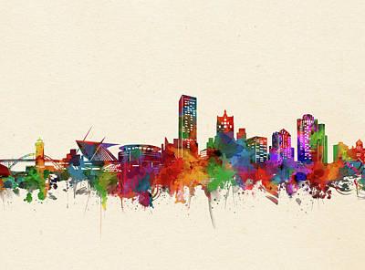 Digital Art - Milwaukee Skyline Watercolor 3 by Bekim Art