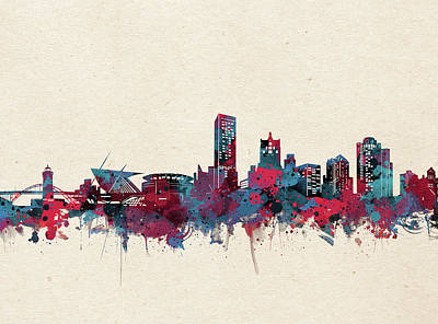 Abstract Skyline Royalty-Free and Rights-Managed Images - Milwaukee Skyline Watercolor 4 by Bekim Art