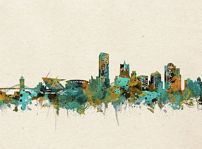 Abstract Skyline Royalty-Free and Rights-Managed Images - Milwaukee Skyline Watercolor 5 by Bekim Art