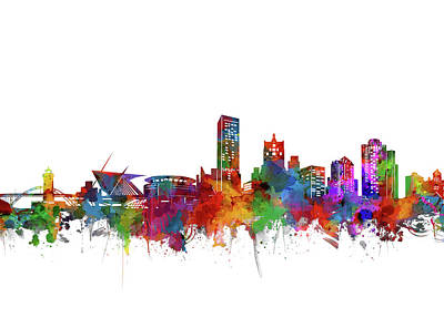 Abstract Skyline Royalty-Free and Rights-Managed Images - Milwaukee Skyline Watercolor by Bekim Art