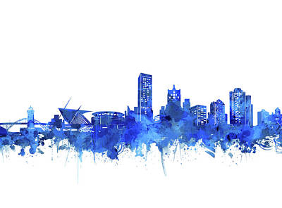 Digital Art - Milwaukee Skyline Watercolor Blue by Bekim Art