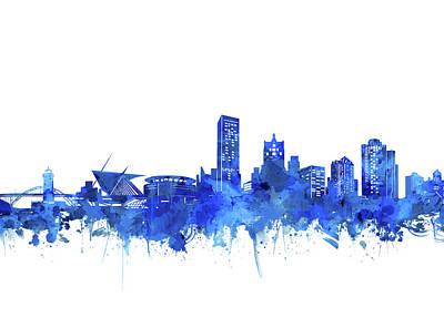 Digital Art - Milwaukee Skyline Watercolor Blue by Bekim Art