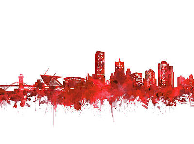 Abstract Skyline Royalty-Free and Rights-Managed Images - Milwaukee Skyline Watercolor Red by Bekim Art