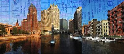 Photograph - Milwaukee Water Trio W Map by Anita Burgermeister