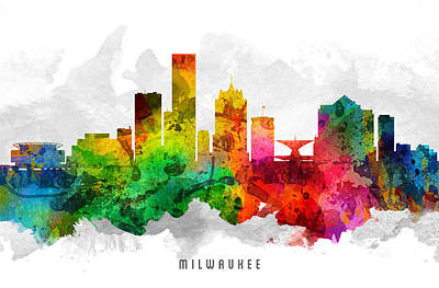 Milwaukee Painting - Milwaukee Wisconsin Cityscape 12 by Aged Pixel