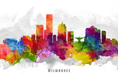 Towns Digital Art - Milwaukee Wisconsin Cityscape 13 by Aged Pixel