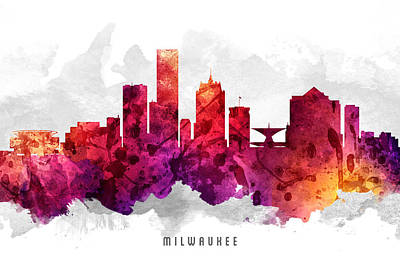 Milwaukee Wisconsin Cityscape 14 Art Print by Aged Pixel