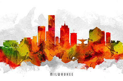 Milwaukee Painting - Milwaukee Wisconsin Cityscape 15 by Aged Pixel