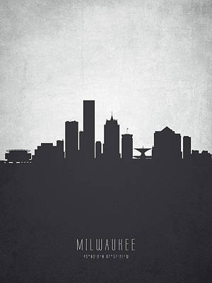 Milwaukee Painting - Milwaukee Wisconsin Cityscape 19 by Aged Pixel