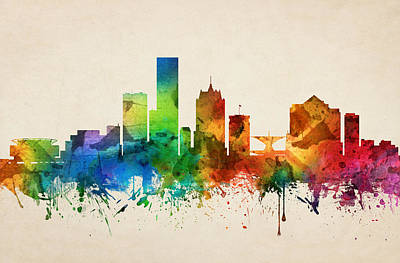 Milwaukee Painting - Milwaukee Wisconsin Skyline 05 by Aged Pixel