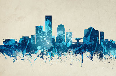 Milwaukee Painting - Milwaukee Wisconsin Skyline 19 by Aged Pixel
