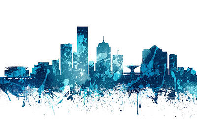 Milwaukee Painting - Milwaukee Wisconsin Skyline 20 by Aged Pixel