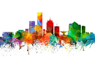 Milwaukee Painting - Milwaukee Wisconsin Skyline 21 by Aged Pixel