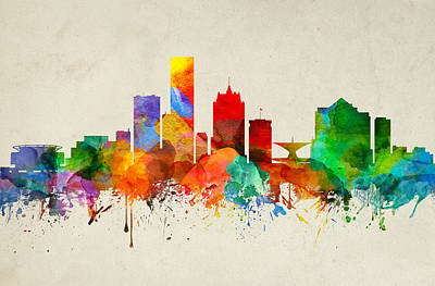 Milwaukee Painting - Milwaukee Wisconsin Skyline 22 by Aged Pixel