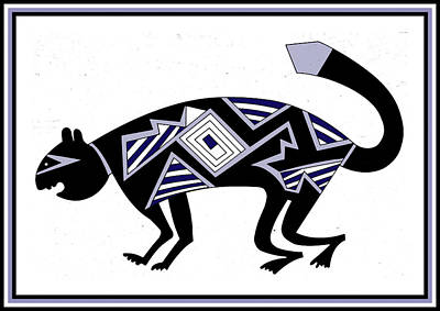 Digital Art - Mimbres Mountain Lion by Vagabond Folk Art - Virginia Vivier