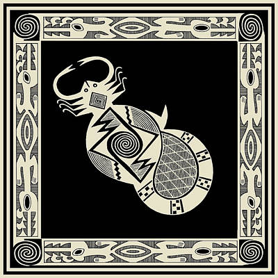 Digital Art - Mimbres Scorpion With Dragons by Vagabond Folk Art - Virginia Vivier