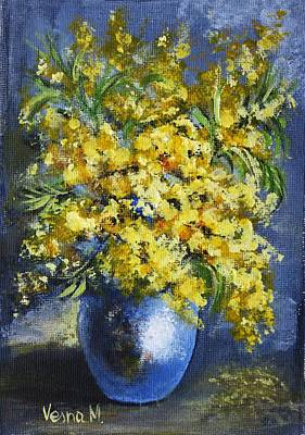 Painting - Mimosa In A Blue Vase by Vesna Martinjak
