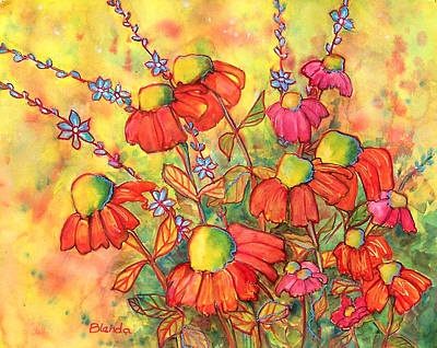 Coneflower Painting - Mimosa Sky Flowers by Blenda Studio